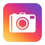 Camera icon on gradient background. Flat vector illustration. Stock Photos