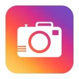 Camera icon on gradient background. Flat vector illustration. Stock Image