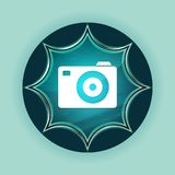 Camera icon magical glassy sunburst blue button sky blue background stock illustration
