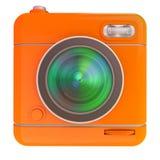 Camera icon orange. 3D rendering of a photo camera icon Royalty Free Stock Photos