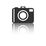 Camera icon with reflection effect on white background. Flat vector illustration Royalty Free Stock Images
