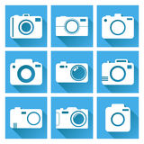 Camera icon set on blue background with long shadow. Vector illustration in flat style with photography icons Stock Photography