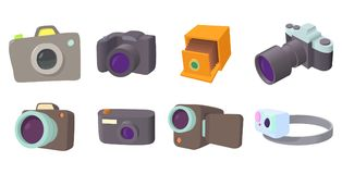 Camera icon set, cartoon style. Camera icon set. Cartoon set of camera vector icons for web design isolated on white background Royalty Free Stock Photography