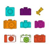 Camera icon set, color outline style. Camera icon set. Color outline set of camera vector icons for web design isolated on white background Royalty Free Stock Image