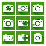 Camera icon set on green background with long shadow. Vector illustration in flat style with photography icons Stock Photography