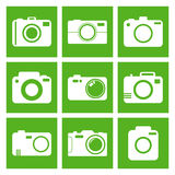 Camera icon set on green background. Vector illustration in flat. Style with photography icons Stock Photography