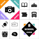 Camera computer symbol. Camera Icon and Set Perfect Back to School pictogram. Contains such Icons as Schoolbook, School  Building, School Bus, Textbooks, Bell Royalty Free Stock Photos