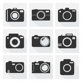 Camera icon set on white background with long shadow. Vector ill Royalty Free Stock Photos