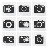 Camera icon set on white background with long shadow. Vector illustration in flat style with photography icons Stock Image