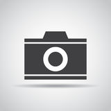 Camera icon with shadow on a gray background. Vector illustration Royalty Free Stock Photography
