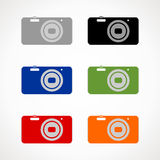Camera icon. Silhouette of the camera  in different colors Royalty Free Stock Photography