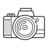 Camera icon for taking photoes and video in modern outline style. Attribute of tourists, artists. Capture moments. Vector illustration Royalty Free Stock Photography