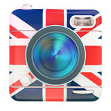 Camera icon Uk. 3D rendering of a photo camera icon with a UK flag pattern Royalty Free Stock Photography