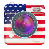 Camera icon US. 3D rendering of a photo camera icon with a US flag pattern Royalty Free Stock Image