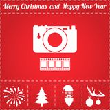 Camera Icon Vector. And bonus symbol for New Year - Santa Claus, Christmas Tree, Firework, Balls on deer antlers Royalty Free Stock Photo