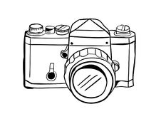 Camera icon vector with doodle style royalty free stock photos