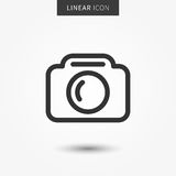 Camera icon vector illustration. Isolated pohotocamera symbol. Photo camera line concept. Photo gadget graphic design. Camera pictogram on grey background Stock Photos