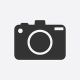Camera icon on white background. Flat vector illustration Stock Images