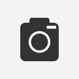 Camera icon on white background. Flat vector illustration Stock Photography