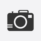 Camera icon on white background. Flat vector illustration. Royalty Free Stock Photography
