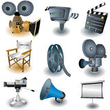 Camera Icons. Nine colored and  illustrated movie equipment Stock Image