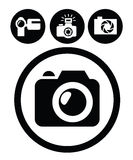 Camera icons. Vector black camera icons set on white Stock Image
