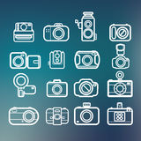 Camera icons of abstract blur backgrounds Stock Photo