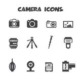 Camera icons. Camera and accessories icons, mono vector symbols Stock Photography