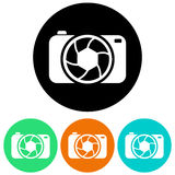 Camera icons. Buttons in multiple colors with camera icons Stock Images