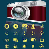 Camera and icons. Compact digital camera and yellow options icons for camera. In vector style Stock Image