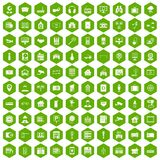 100 camera icons hexagon green. 100 camera icons set in green hexagon isolated vector illustration Royalty Free Stock Photos