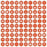 100 camera icons hexagon orange. 100 camera icons set in orange hexagon isolated vector illustration stock illustration