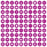 100 camera icons hexagon violet. 100 camera icons set in violet hexagon isolated vector illustration Stock Photo