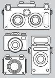 Camera icons isolated on gray. Background Stock Image