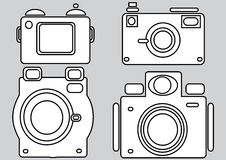 Camera icons isolated on gray. Background Royalty Free Stock Images