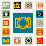 Camera  icons set black and white color Royalty Free Stock Photography