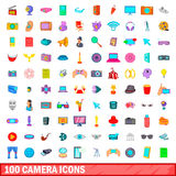 100 camera icons set, cartoon style. 100 camera icons set in cartoon style for any design vector illustration Royalty Free Stock Images