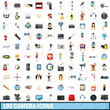 100 camera icons set, cartoon style. 100 camera icons set in cartoon style for any design vector illustration Royalty Free Stock Photography