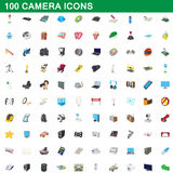 100 camera icons set, cartoon style. 100 camera icons set in cartoon style for any design vector illustration Stock Image