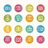 Camera icons set Circle Series Stock Images