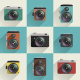 Camera icons. Set of colored camera icons. Different types of cameras Stock Images