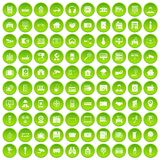 100 camera icons set green circle Stock Images