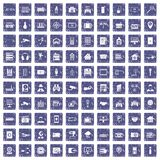 100 camera icons set grunge sapphire. 100 camera icons set in grunge style sapphire color isolated on white background vector illustration Royalty Free Stock Images