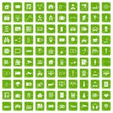 100 camera icons set grunge green. 100 camera icons set in grunge style green color isolated on white background vector illustration Stock Photo