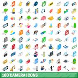 100 camera icons set, isometric 3d style. 100 camera icons set in isometric 3d style for any design illustration stock illustration