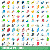 100 camera icons set, isometric 3d style Royalty Free Stock Image