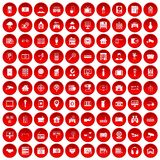100 camera icons set red. 100 camera icons set in red circle isolated on white vector illustration royalty free illustration