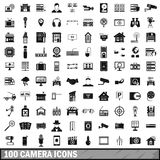 100 camera icons set, simple style. 100 camera icons set in simple style for any design vector illustration Stock Photography
