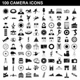 100 camera icons set, simple style. 100 camera icons set in simple style for any design illustration vector illustration
