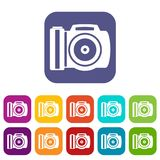 Camera icons set. Vector illustration in flat style in colors red, blue, green, and other Royalty Free Stock Photography